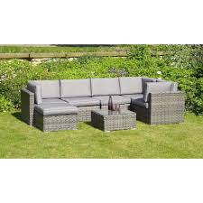 Outdoor Rattan Corner Sofa Atlantic 7 Piece Grey Rattan Corner Set