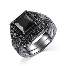 Sterling Silver Wedding Rings by Amazon Com Castillna Black Sterling Silver Princess Cut Created