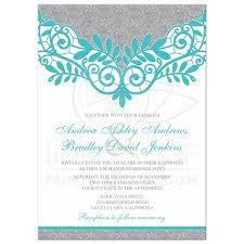 silver wedding invitations turquoise silver wedding invitation silver grey and turquoise lace