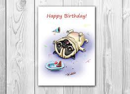 pug birthday printable greeting card instant от fenekdolls