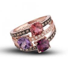 rose gold amethyst diamond ring le vian 14k rose gold three row cotton candy amethyst pink