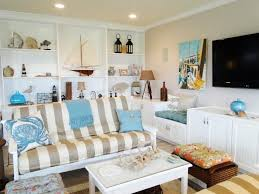 beach house living room decorating idea with striped sofa and