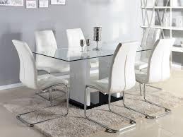 table de cuisine en verre trempé table à manger marisa 6 couverts verre et mdf laqué blanc