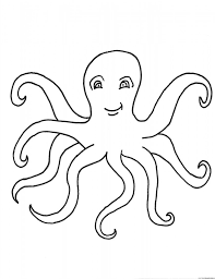 outline of octopus and seashells coloring page for kids coloring