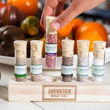vial cuisines jacobsen salt 6 vial infused sea salt wooden stand gift set