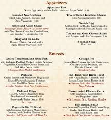 Menu Changes Epcots Rose  Crown Pub And Dining Room The - Dining room menu