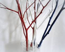 tree branches home decor branches 4th of july decor red