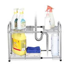 Kitchen Sink Shelf Organizer by Amazon Com Nex 2 Tier Under Sink Shelf Organizer Under Sink