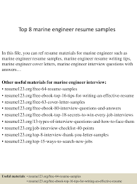 Resume Sample For Ojt Pdf by Top8marineengineerresumesamples 150410090042 Conversion Gate01 Thumbnail 4 Jpg Cb U003d1428674486