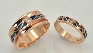 matching wedding bands 14kt gold matching wedding bands with diamonds and inlay