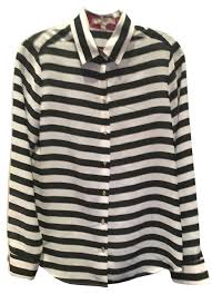 black and white striped blouse banana republic black white striped pink office out button
