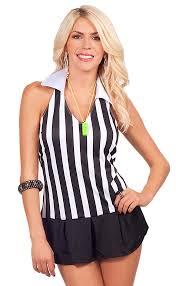 Halloween Costume Piece Halter Neck Referee Flirt Pleated Skirt Halloween