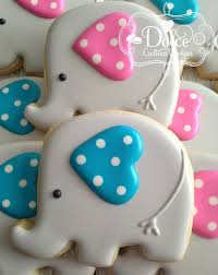 one dozen 12 baby elephant decorated sugar cookies cookies for