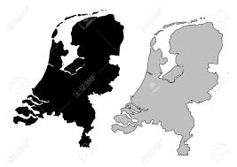netherlands map black and white mercator projection royalty