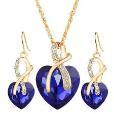 love crystal necklace images Gold color love crystal heart necklace earrings jewelry set jpg