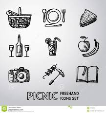 cocktail icon vector set of handdrawn picnic icons vector stock vector image 57498353