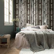 home interior small bedroom decor with beautiful birch trees