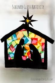stained glass nativity housing a forest
