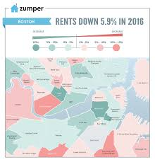 Green Line Map Boston by Heat Map Where Boston Rents Rose U0026 Fell Most In 2016