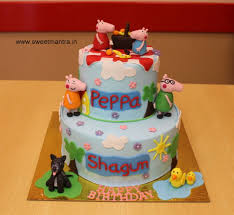 peppa pig birthday cakes peppa pig and george theme 2 layer customized fondant 3d birthday