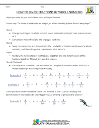 dividing a whole number by a fraction dividing fractions by whole numbers