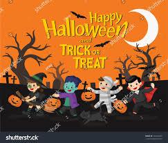happy halloween children dressed halloween fancy stock vector