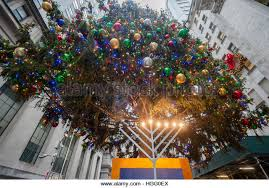 New York Christmas Tree Decorations Uk by Menorah And Christmas Tree Stock Photos U0026 Menorah And Christmas