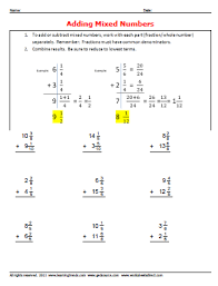 adding mixed number worksheets worksheetsdirect com