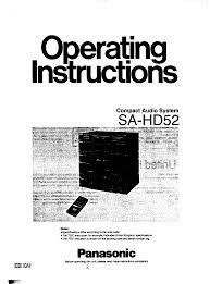 panasonic stereo system sa hd52 user guide manualsonline com