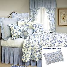 french country shabby chic brighton blue toile quilt classic blue