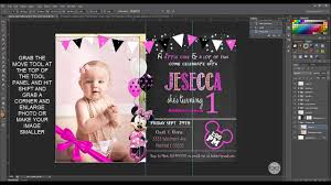 diy minnie mouse birthday invitation using photoshop youtube