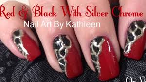 red u0026 black nails with silver chrome design diy nail art tutorial