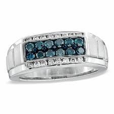 blue men rings images Men 39 s 1 ct t w enhanced blue and white diamond band in sterling jpg