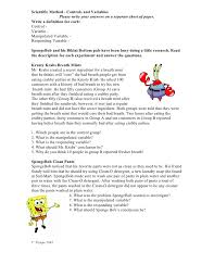 spongebob scientific method worksheets science pinterest