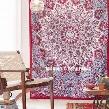 maroon small indian dorm decor star hippie tapestry wall hanging