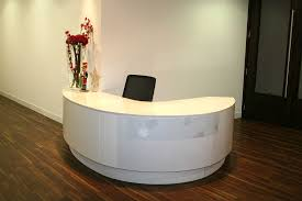 Oval Reception Desk Beautiful Curved Receptionist Desk Hight Gloss Finish Leaf Details