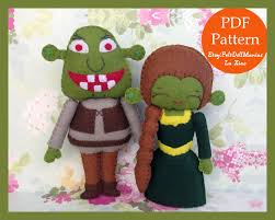 shrek and fiona felt doll pdf pattern and tutorial halloween