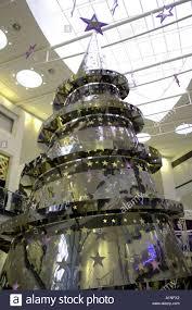 metal metallic christmas tree inside interior modern light stock