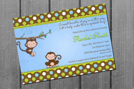 blue and brown monkey boy baby shower invitation and free