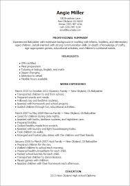 Examples Of Nanny Resumes by Download Babysitting Resume Haadyaooverbayresort Com