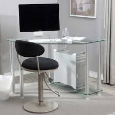 Black Glass L Shaped Computer Desk by Overwhelming L Shape Computer Desks Black Glass Tabletop Metal And