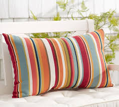 Lumbar Patio Pillows Giorgia Stripe Indoor Outdoor Lumbar Pillow Pottery Barn