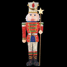 Christmas Yard Decorations 5 Ft Pre Lit Tinsel Nutcracker Soldier Ty315 1314 The Home Depot