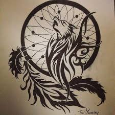 wolf and catcher tribal pen drawing style wolf