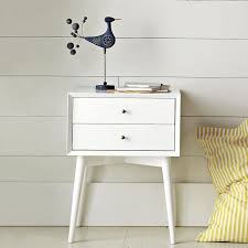 bedside table mid century nightstand white west elm