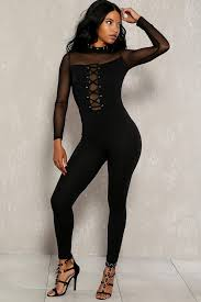 black mesh jumpsuit black mesh sleeves lace up bodycon jumpsuit