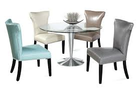 image of upholstered dining chairs with nailheads upholstered