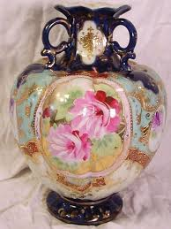 Nippon Vase Price Guide Hand Painted Footed Nippon Vase Cobalt Blue Pink Roses Gold