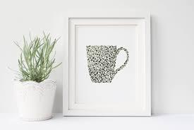 mug painting coffee painting shabby chic wall art bohemian wall