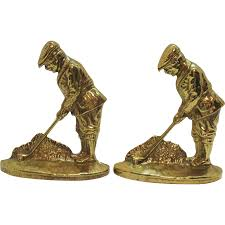 Door Stops Vintage Brass Golfer Bookends Door Stops Signed V In Circle Heavy
